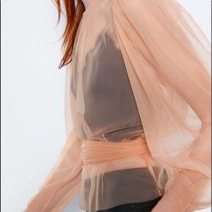Zara semi sheer peach top